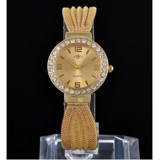 Gold Luxury Women Bangle Bracelet Steel Crystal Dial Quartz Analog Wrist Watch