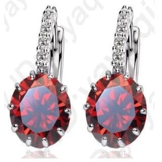 Earrings High Quality Silver Cubic Zircon Red Color Earring