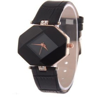 Womens Shiny With Rhinestone Watch Faux Leather Wrist Watch Black
