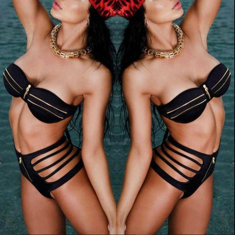 Padded Bra Zipper Design Swimsuit Beach Swimwear Bandage Push-up Bikini