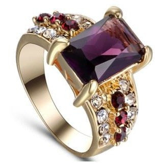 Gold Plated Amethyst Wedding Engagement Bridal Anniversary Princess Cut
