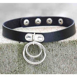Dark Harajuku Double O RING Leather Collar Choker Necklace