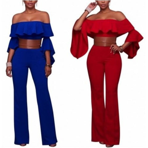 Twilled Solid Off The Shoulder Jumpsuits