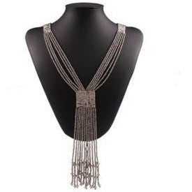 Fashion Women's Bohemia Jewelry Resin Beads Tassel Chain Pendant Necklace