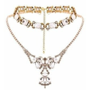 Multi Layered Women Golden Geometric Rhinestone Collar Chain Necklace Choker