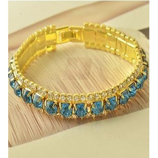Around Sky blue sapphire crystal 9K Yellow Gold Filled Womens Bracelet