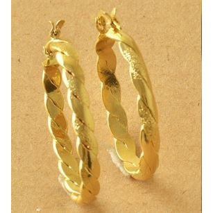 NEW Braided Yellow Gold Filled Womens Hoop Earrings