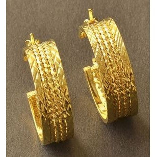 Patterned Yellow Gold Filled Ladies Hoop Earrings