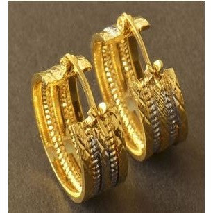 SALE 9K Yellow & White Gold Filled Womens Embossed Hoop Earrings