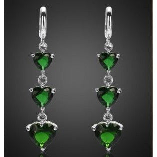 Fashion Jewellery Lady Green Emerald White Gold Plated Earrings Hoop Earring