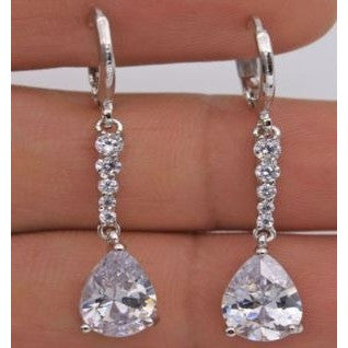 18K White Gold Filled -White Waterdrop Topaz Dangle Earrings