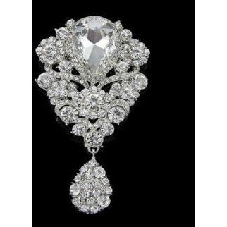 Big Size New Hot Selling Clear Rhinestone Long Teardrop Bridal Party Brooch Pin