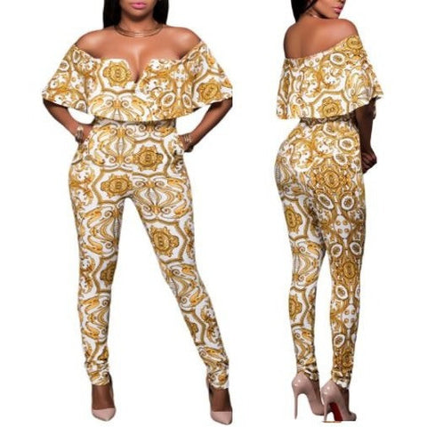 White Yellow Tapestry Print Belted Jumpsuit