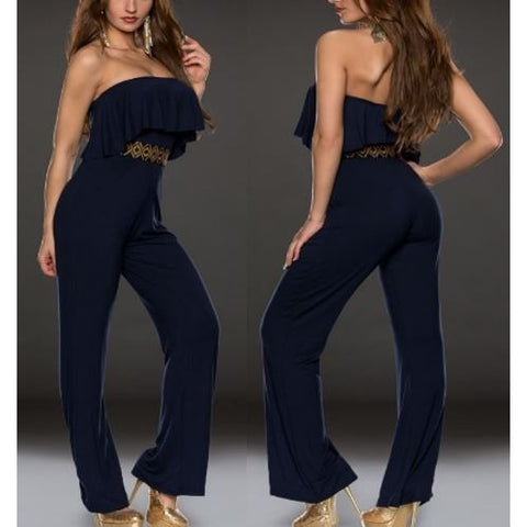 Blue Stylish Strapless Jersey Jumpsuit