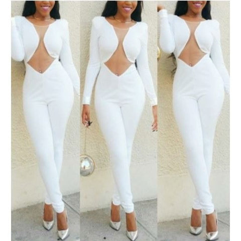Pure White long Sleeve Cut Out Waist Jumpsuit