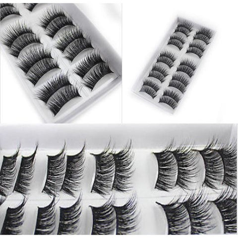 10 Pairs 3D Volume Corner Thick False Eyelashes Strip Fake Eye Lashes Makeup
