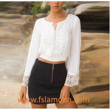Pure White Casual Lace Long Sleeve Blouse