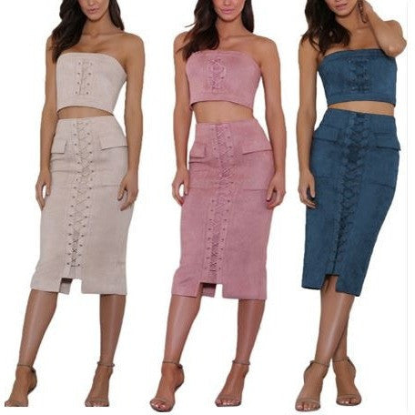 Velvet Sexy Lace-Up Two-Piece Tube Dress