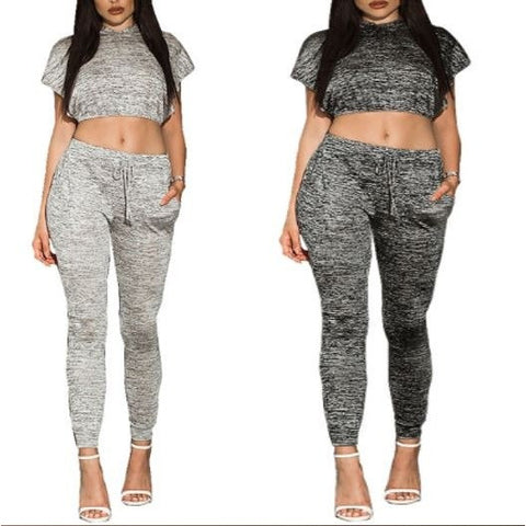 Charcoal Gray Marled Slit Hoddies Crop Top Pant Set