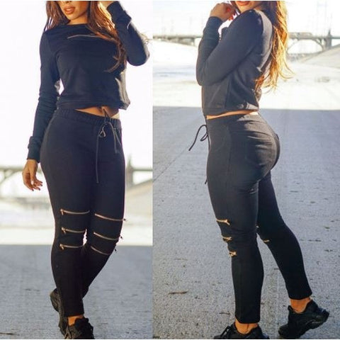 Black Fashion Sporty Zipped Pants Set