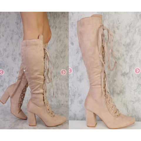 Nude Lace Up Round Flat Toe Single Sole Chunky Heel Boots