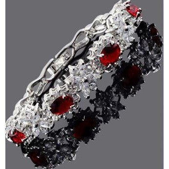 CZ Oval Cut Red Ruby White Gold Plated Tennis Bracelet