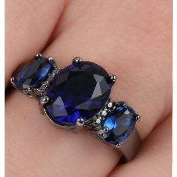 3-Stone Blue sapphire CZ Engagement Size 8.5 Ring 10kt Black Gold filled