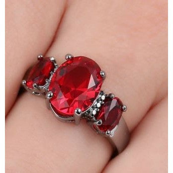 3-Stone Red Ruby CZ Engagement Size 8.5 Ring 10kt Black Gold filled