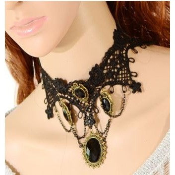 Mosaic, gothic, sexy, black lace necklace