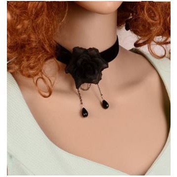 black flower bud silk bow necklace jewelry boutique