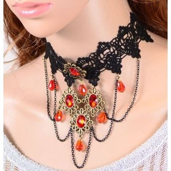 Black Lace Beaded Burlesque Party Choker