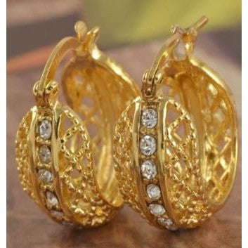 Amazing 9K Real Yellow Gold Filled CZ Womens Hoop Earrings