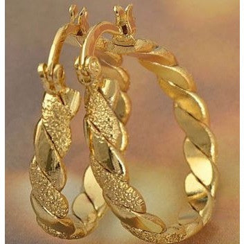 Classic 9K Yellow Solid Gold Filled Womens Braided Hoop Earrings