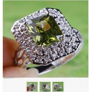 R-238 Peridot & White Topaz Gemstone .925 Sterling Silver Overlay Ring Size 7