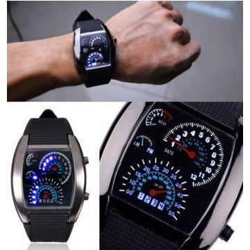 Fashion Men's Black Stainless Steel Luxury Sport Analog Quartz LED Wrist Watches