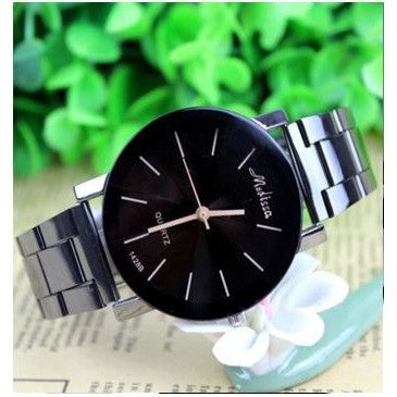 Fashion Men Couple Stainless Steel Watches Analogue Quartz Wrist Watch