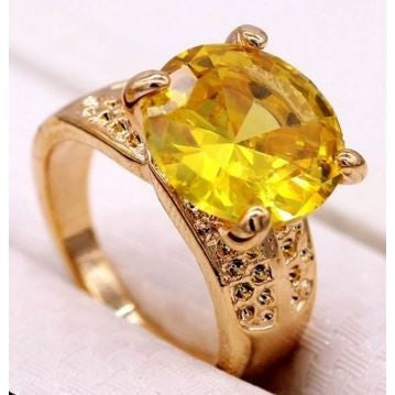 Fashion Round Women Ring Yellow Crystal 18K Yellow Gold Plated CZ Ring Size 7