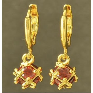 Stunning 9K Yellow Gold Filled Red Ruby Ladies Megic-Ball Dangle Earrings