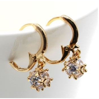 Unique 3D Ball White Cubic Zircon Hoop Earrings 18k Yellow Gold Plated