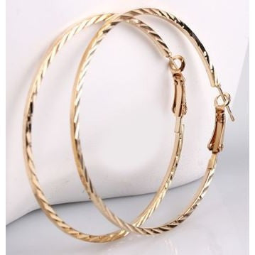 Nice Fashion Gold Color Jewelry Charm Hoop Earrings