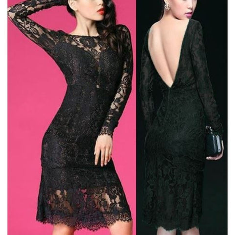 Elegant Black V Backless Lace Midi Dress
