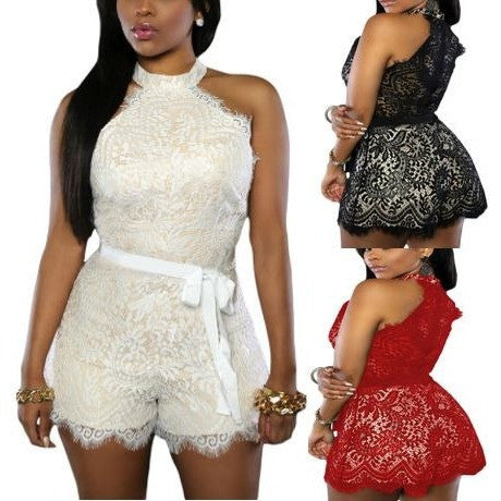 Red Lace Nude Illusion Stylish Romper
