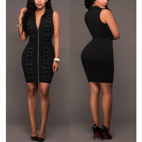 Full Zipped Lace-Up Black Bandage Dress with Collar