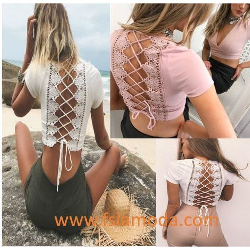 Lace-up Floral Back V-neck Crop Top