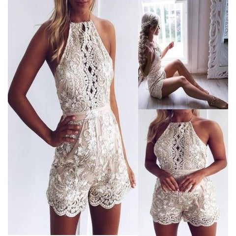 Fashion White Embroidered Backless Jumpsuits