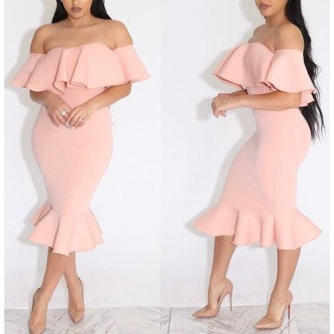 Sweet Pink Off-shoulder Flounced Bodycon Dress