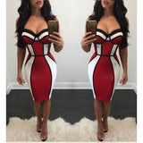Women Black Striped Red and White Strap Bodycon