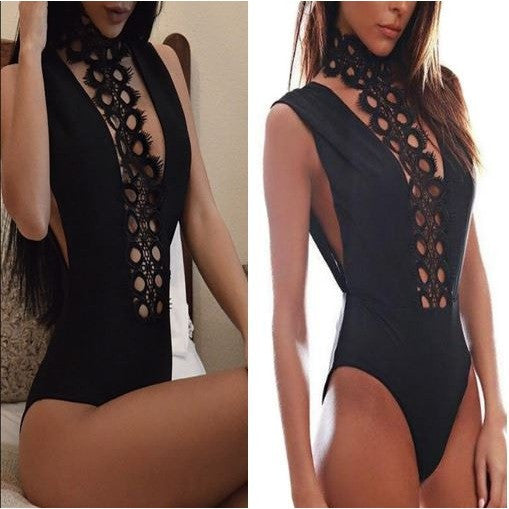 Revenge Embroidered High Neck Leotard Bodysuit