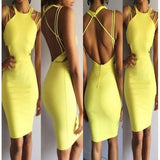 Spaghetti Strap Sleeveless Backless Yellow Bodycon Sheath Mini Dress