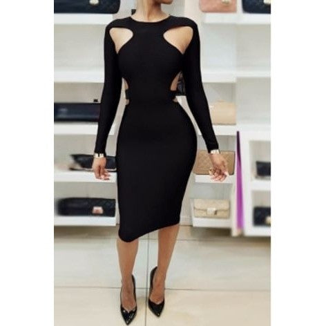 Sexy Round Collar Long Sleeves Hollow-out Knee Length Dress